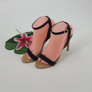 "Lovmark black suede ""april"" open toe heel sandals"